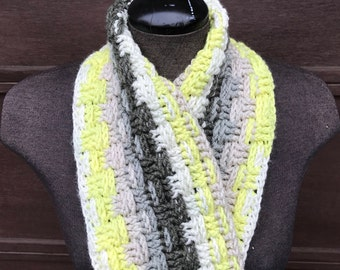 READY TO SHIP Bright Green, Grey and Charcoal Basketweave Infinity Scarf, Extended Cowl, Handmade, Multicolour