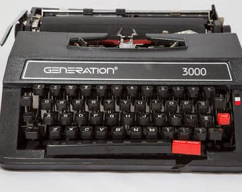 Generation 3000 Manual Typewriter Black in Portable Carrying Case