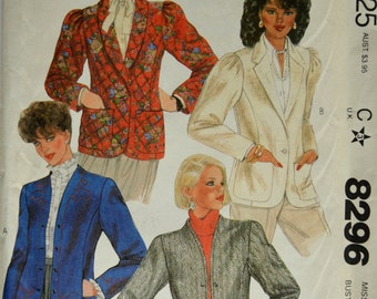 Uncut 1980s McCall's Vintage Sewing Pattern 8296, Size 18; Misses' Jackets