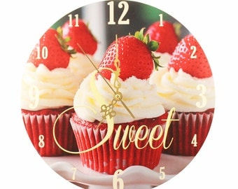 """Kitchen Wall Clock - 'Sweet Strawberry Cupcakes' (11"""")"""