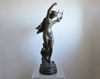 Mathurin Moreau - French - Danseuse à la lyre (Dance with Lyre) Bronze on Rotating Base