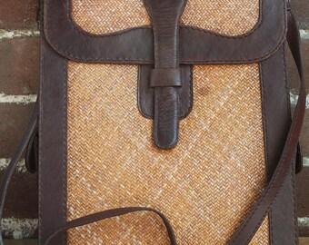 Vintage Leather Handbag Wicker Woven Cross Body Shoulder Large Boho Artists Satchel Sketchbook bag