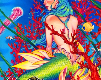 Mermaid fantasy art print, Jellyfish fine art limited edition print , colorful sea underworld, pop surrealism, hand embellished