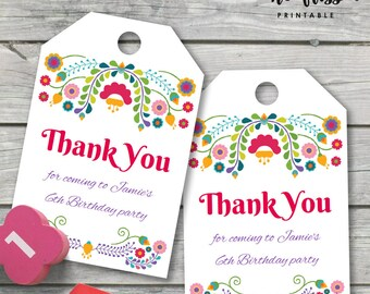 Fiesta Thank You Tag |  Favour Tag | Gift Tag | Editable PDF File | Instant Download | Personalize at home with Adobe Reader
