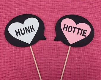 Hunk and Hottie Signs - Photo Booth Props - Wedding Party Photo Props - Photobooth Props - FULLY ASSEMBLE  - Set of 2