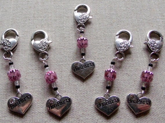 Silver heart - pink crystal  zipper pull - hen party charm  - bachelorette  favors -  shower treats -  phone   -  girl party - Lizporiginals