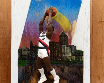 Clyde Drexler // 3 Dimensional Basketball Card // SkyMaster // Reclaimed Wood Art // 90's NBA Basketball Cards