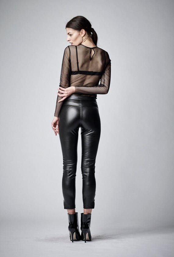 black leather pants leather leggings plus size clothing