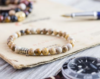 6mm - Brown jasper stone beaded stretchy bracelet, custom made mens bracelet, womens bracelet, mens bracelet