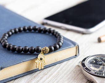 6mm - Matte black onyx beaded stretchy bracelet with micro pave gold Hamsa hand charm, made to order beaded mens bracelet, womens bracelet