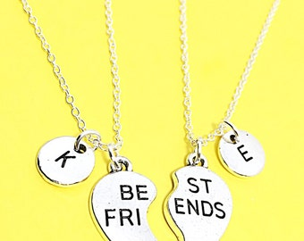 Personalized best friend necklace, best friend necklace, bff charm, customized, initial necklace,initial charm,best friend jewelry,bff gift