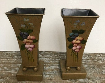 Vintage gold Aluminium Tall Vases Set of Vases with Hand Paint in the Front