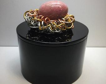 Black Lacquer Box Wire Bird Nest Rhodochrosite Pink Gemstone Egg, Keepsake Box, Gold, Silver, Copper,Gemstone Box,Wire Sculpture,Jewelry box
