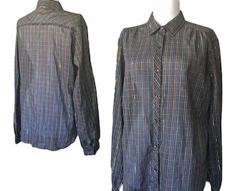 Vintage Metallic Weave Semi Sheer Plaid Button-Up — Medium