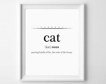 Cat Print, Cat Lover Gift, Cat Poster, Cat Definition Print, Pet Gift, Cat Printable, Pet Poster, Cat Prints, Funny Cat Gifts, Funny Poster