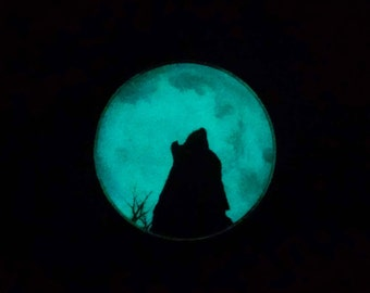 Howl at the Moon, Glow in the Dark, Glass Pendant, Necklace, Jewelry