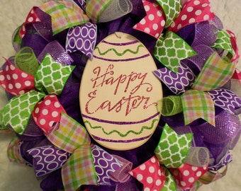 Easter Wreath, Easter Egg Wreath, Easter, Easter bunny wreath, Mesh Easter Wreath, Happy Easter Wreath,Colorful Easter Wreath