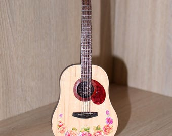 Collectible Small Model Hippie Acoustic Guitar, Gipsy Style guitar, Bohemian Guitar souvenir, Boho Chic guitar, Gift idea for guitar player,