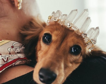 RUE rose quartz glamorous crystal wedding tiara for dogs - small, medium or large