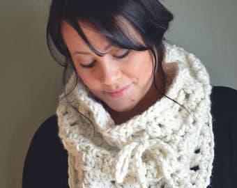 CROCHET PATTERN | Cowl Scarf | The Lark Cowl | Neckwarmer | Chunky Knits | Knitwear | Adjustable Scarf