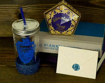 Ravenclaw Glass Tumbler// Hogwarts House Tumbler // Harry Potter Gift Set