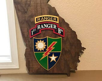 "Army Ranger 3D wall decor.  24"" State with Tab, Scroll, DUI Crest.  All Customizable"