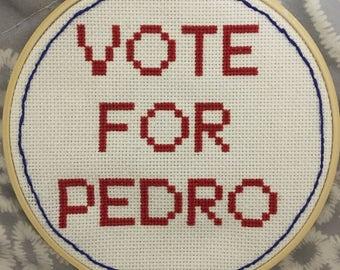 """Napoleon Dynamite """"Vote For Pedro"""" Cross Stitch"""