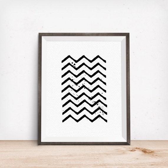 Printable Art, Black Zig Zag, Pattern, Modern Art, Minimalist Art, Art Printable, Home Decor, Digital Download Print