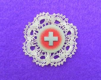 Swiss badge - 1st August 1942 - Handmade bobbin lace - Stoba S A Horn