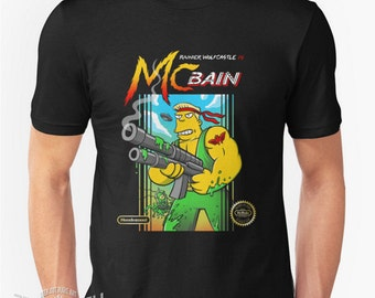 McBain T-shirt inspired by The Simpsons and classic retro Nintendo game Contra