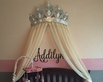Bed Canopy Crown Wall Decor in Silver With White Sheer Panels and Choice of Rhinestone Accent Color
