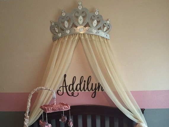 White Bed Canopy bed canopy crown wall decor in silver with white sheer panels