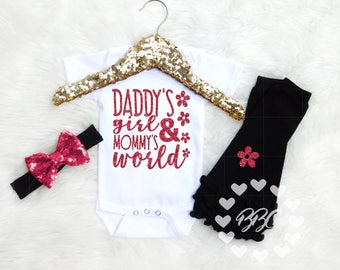 Baby Girl Clothes, Daddy's Girl & Mommy's World Bodysuit, Bodysuit Set, Daddy's Girl Bodysuit, Mommy's Girl, Baby Girl Clothes, Daddy's Girl