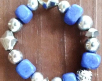 Blue Stone Chunky Bracelet with Silver Diamonds