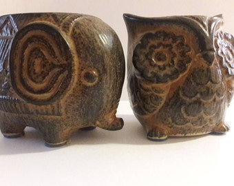 Vintage Ardco Indian Elephant And Owl Ceramic Votive Candle Holders 70s