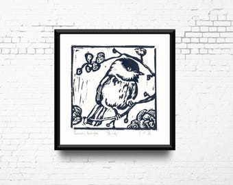 "Bird Linocut Print, 8x8"" Print in Grey, Hand Pulled Print, Small Original Artwork, Bird in Tree Art, Block Print, Ready to Ship"