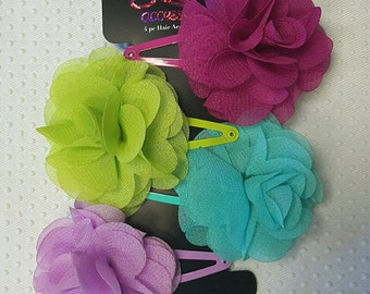 4pc Flower Snap Clips