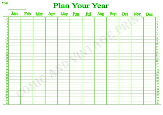 Items similar to Yearly Wall Planner for 2018, 2019, 2020 ...