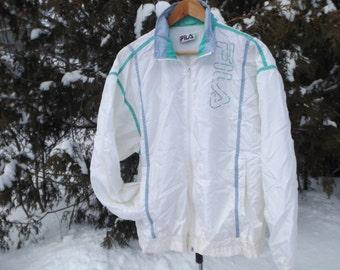 Rad 80s or 90s Fila Vintage Windbreaker Pastel Windbreaker White Teal Neon Zip Up 90s Windbreaker Oversized Jacket 90s Clothing Size Medium