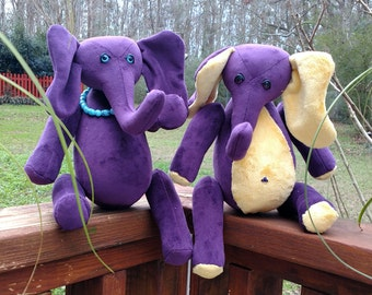 Eva and Ezra - Handmade Purple Elephantys