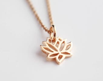 Rose gold lotus pendant buddhist necklace gifts for her gifts rose gold lotus necklace rose gold lotus pendant lotus charm rose gold jewellery mozeypictures Image collections
