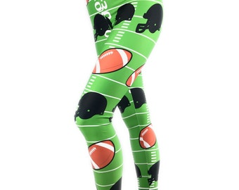 Football Leggings - Football Costume - Sports Costume - Football Themed Leggings - Football Pants - Foot Ball - Leggings