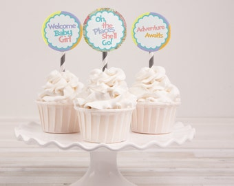 Instant Download - Oh the Places She'll Go Baby Shower Cupcake Toppers