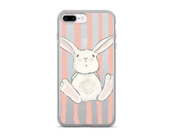 Bunny Stripes   iPhone Case   Cute Phone Case   Clear iPhone 6 Plus Case   Bunny Rabbit   Illustration   iPhone 7   iPhone 5S Case   Pink