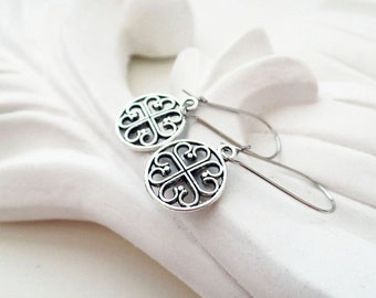 Silver Abstract Earrings | Silver Circle Earrings