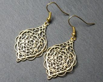 Gold filigree earrings, oriental earrings, large gold earrings, ornate earrings, ethnic earrings.