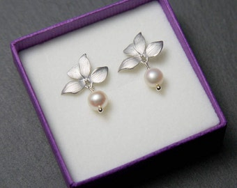 Silver Orchid Studs, Flower stud earrings, Silver pearl earrings, Orchid earrings, stud earrings, bridal earrings, wedding jewellery.