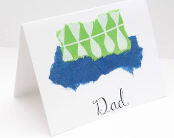 Father's Day Car; Handmade, Unique, Greeting Card for Dad; Father's Day; Birthday Card for Dad; Blue Green Card for Dad