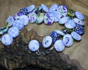 Hand made, upcycled, fabric button bracelet, Vintage blue various patterns
