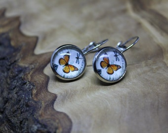 Vintage Style, Butterfly image, glass dome, cabochon drop earrings *Beautiful and Elegant*